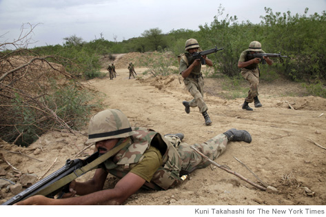 Pakistani Army soldiers in a training exercise at a facility southeast of Islamabad, Pakistan, June 15, 2010.