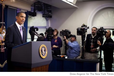 President Barack Obama speaks to reporters in the White House briefing room in Washington on Oct. 29, 2010. Obama spoke about a widening investigation into suspicious packages shipped to the United States by air from Yemen which the President said posed a credible threat against the U.S. (Drew Angerer/The New York Times)
